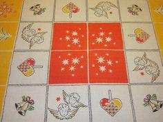 ON SALE Vintage Swedish CHRISTMAS Tablecloth by unclebunkstrunk, $36.99