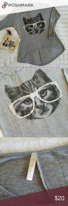 """🆕251) Cat w/glitter glasses graphic tee Long sleeve graphic tee ....slightly asymetrical in the front...measures approximately 19"""" from the armpit to armpit &  approx. 22"""" from the shoulder seam to the bottom of the hem in the front... the glasses on the cat are silver glittered....tu5.... Picky Girl Tops Tees - Long Sleeve"""