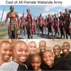 Cast of All - Female Wakanda Army. Dc Memes, Marvel Memes, Marvel Dc Comics, Marvel Avengers, Black Panther Marvel, Shuri Black Panther, King T, Culture Art, My Black Is Beautiful