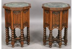 57: PAIR GOTHIC CARVED OAK OCTAGONAL END TABLES : Lot 57