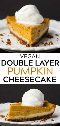 Vegan Double Layer Pumpkin Cheesecake, for a delicious pumpkin pie alternative! Pear Recipes, Best Vegan Recipes, Favorite Recipes, Vegan Sweets, Vegan Desserts, Vegan Foods, Vegan Meals, Double Layer Pumpkin Cheesecake, Pear And Chocolate Cake