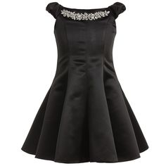 Girls stylish black off the shoulder dress by David Charles made in a soft satin polyester. It has a stunning neck detail made from various sized and shaped diamanté gems. It has an elegant feminine shape with panels which gives flare to the hem and puffed cap sleeves. The layer of tulle gives slight volume and the silky lining ensures it is soft against the skin. <br /> <br /> <b>Model:</b> <i>Height</i> 148cm, <i>Age</i> 10 years <br /> <i>Size of dress shown ...