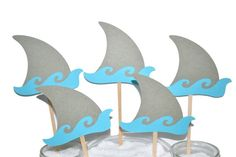 Shark Party Decorations / 12 Shark Fin Cake Toppers / Shark First Birthday / Boy Baby Shark Birthday Decorations / Girl Shark Party Shark Party Decorations, Girl Birthday Decorations, Birthday Party Centerpieces, Birthday Party Themes, Birthday Ideas, Baby Shower Cupcake Toppers, Cupcake Party, Shark Fin, Baby Shark