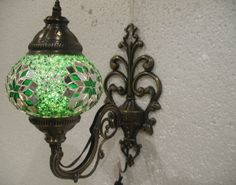 Green mosaic glass sconce lamp wall lamp lampe by meryemart Turkish Lights, Outdoor Lamps, Moroccan Lanterns, Livex Lighting, Mosaic Glass, Lamp Light, Wall Sconces, Wall Lights, Candles