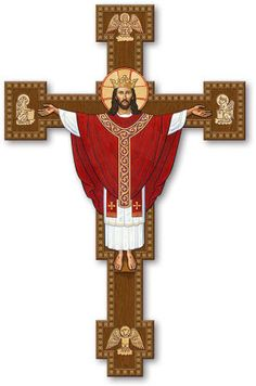 Surrounded by symbolic images of the four Evangelists, Christ the King reigns in glory from the Holy Cross in this newest addition to our collection of iconographic crucifixes. Available in our Mounted Sizes from 10 and 24 sizes and also in our Cathedral Sizes (36 to 60 tall) by using the pulldown Size/Price menus above.