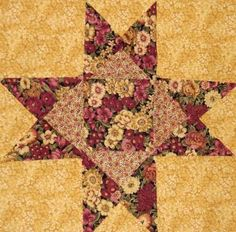 12 Flower Star Quilt Squares Kit - Flowers Roses  OOP Floral Fabric Quilting Sewing