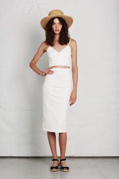Joie | Spring 2014 RTW |  Photo 1 | loving this look... elegant white crop top + midi skirt