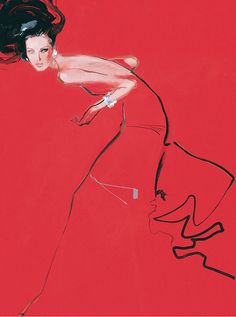 """Beautiful images by English illustrator David Downton. """"David Downton has attended Paris Haute Couture shows since His illustrations chart both the back stage and… David Downton, Art And Illustration, Portrait Illustration, Fashion Illustrations, Fashion Sketches, Dress Sketches, Drawing Fashion, Illustration Fashion, Design Illustrations"""