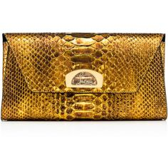 Vero Dodat Clutch  Antic Gold Python Cuirasse - Handbags - Christian... ($1,790) ❤ liked on Polyvore featuring bags, handbags, clutches, snake print handbags, python print handbag, brown handbags, gold purse and purse clutches