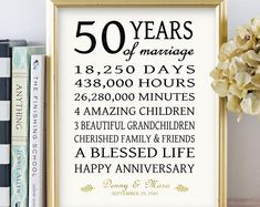Anniversary Gift for Parents Golden 50 Years Wedding Anniversary Sign Personalized Art Print or Canvas faux Gold Black CUSTOM – Gift Ideas 50 Wedding Anniversary Gifts, Anniversary Gifts For Parents, Personalized Anniversary Gifts, 50th Anniversary Quotes, 50 Anniversary Gift Ideas, 50th Anniversary Cakes, 50th Anniversary Decorations, Golden Anniversary Cake, Personalized Gifts