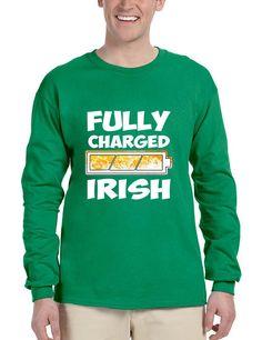 Men's Long Sleeve Fully Charged Irish St Patrick's Day Shirt