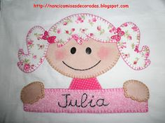 Camiseta Infantil ( Tons Rosa e Lilás )        Camiseta Infantil Tons Rosa       Execução : Nanci Ruiz     ( NanciCamisasDecoradas )  ... Hand Embroidery Designs, Embroidery Applique, Fun Crafts, Diy And Crafts, Childrens Beds, Blanket Stitch, Embroidery Fashion, Baby Girl Dresses, Baby Boy Shower