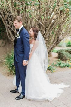 The first look, a Monique Lhuillier Gown, and a SuitSupply Tux. Romantic Wedding Photos, Wedding Poses, Wedding Shoot, Wedding Pictures, Wedding Ideas, Wedding Stuff, Wedding Planning, Wedding First Look, Perfect Wedding