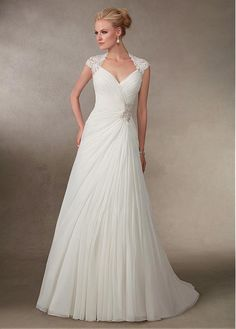 Stunning Chiffon Queen Anne Neckline A-line Wedding Dresses With Beaded  Lace Appliques