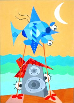 Playero monoaural. Monophonic Beach man. Acrylic on canvas. RUFER