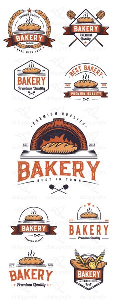 Retro Bakery Logo Design, Vintage hand drawing icon style. Modern hipster badge. Vector ribbon emblem illustration. 9 sign collection for food industry . Perfect for small business, easy to use. #bakery #interior #shop #startup