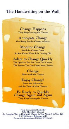 Who Moved My Cheese Quotes New Who Moved My Cheese Managing Change  Be A Leader  Pinterest