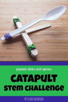 Science is more fun when it's an action sport! Make a cool catapult with just a couple items laying around your house. for boys Build this Mini Catapult with Popsicle Sticks and a Spoon Fun Crafts For Kids, Craft Stick Crafts, Games For Kids, Diy For Kids, Craft Sticks, Popsicle Stick Crafts For Kids, Craft Ideas, Kids Fun, Decor Crafts