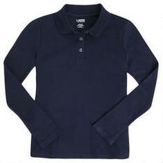 $8 Long Sleeve Interlock Knit Polo with Picot Collar (Feminine Fit)