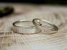 Silver Tree Bark Wedding Rings: Rustic by CuriousMagpieDesigns