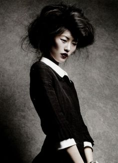 """pinterest.com/fra411 #asian #beauty - Liu Wen in """"classics re-presented"""" by Patrick Demarchelier for Vogue China February 2011."""