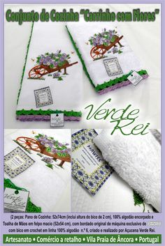"""Kitchen cloth and hand towel - """"Hand carriage with flowers"""" (100% cotton) with crochet beak (100% cotton thread)"""