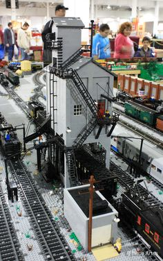"""LEGO Coaling Tower """"scratch-built"""" by members of PennLUG."""