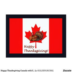Happy Thanksgiving Canada with flag and turkey