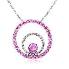 Round Pink Sapphire and Diamond Circle Pendant in 14K White Gold: #Angara