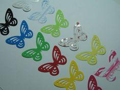 Cortes em formato de borboleta em várias cores e em papel específico para Scrapbook. Kit com 12 unidades. Cores podem ser alteradas. Medidas 4,5cm x 3cm R$ 5,15