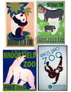 VINTAGE Art Deco 1930s WPA Posters-Brookfield Zoo-4 Prints Posters for, Collages, Scrapbook, Fabric Art, Cards.. by StudioGlindda on Etsy