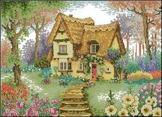 beautiful cottage scene in cross stitch.  http://vushivaem.ru/house/page/2/