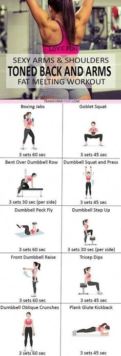 Sexy Arms and Shoulders - Women's Workout to Banish Back Fat and Tone & Tighten Arms. - Transform Fitspo - Healty fitness home cleaning Fitness Workouts, Fitness Motivation, Training Fitness, Mental Training, Fitness Tips, Health Fitness, Workout Tips, Fitness Foods, Beginner Workout Routines