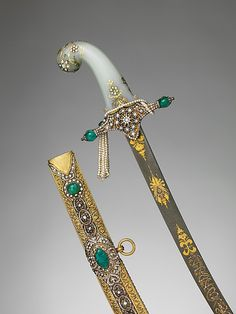 Saber with Scabbard, 19th century. Turkish. The Metropolitan Museum of Art, New York. Gift of Giulia P. Morosini, in memory of her father, Giovanni P. Morosini, 1923 (23.232.2a, b) | The most important ceremony in the inauguration of many Islamic rulers was the investiture with a sword, rather than a crown.  #sword