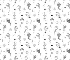Trendy geometric kites scandinavian style kite illustration fabric for kids black and white gender neutral Large  fabric surface design by Little Smilemakers on Spoonflower - custom fabric and wallpaper inspiration