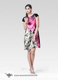 Pink & Black Appealing Satin Kurti #Printed #Kurti #Upperkneelength #OOTD #OutfitOfTheSummer #Summertrend #Indiaemporium