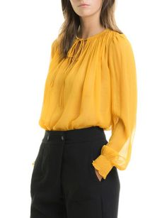 Rouched Silk Blouse