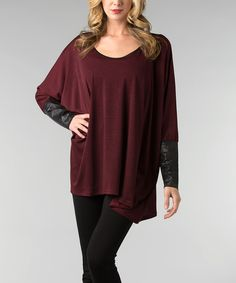 Look at this Dalin Berry Dolman Scoop Neck Tunic on #zulily today!