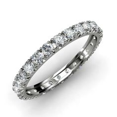This is a beautiful 0.70cttw-0.90cttw French Set Eternity Band With April Birthstone Diamond, representing Love.