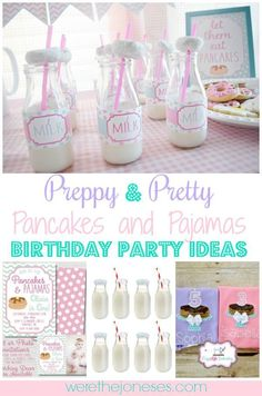 Throw a custom, breakfast themed Pancakes and Pajamas Birthday Party for your little one 9 Year Old Girl Birthday, Girls Birthday Party Games, Sleepover Birthday Parties, Birthday Activities, Little Girl Birthday, Party Activities, Birthday Ideas, 5th Birthday, Kid Parties