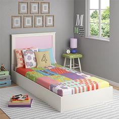 Cosco Skyler Kids Twin Bed With Reversible Headboard White
