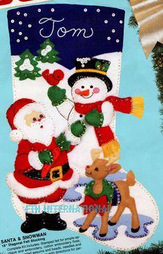 Bucilla Santa & Snowman  18 Felt Christmas Stocking Kit