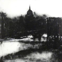 'Landscape No.739' (2004) by British painter John Virtue (b.1947). Acrylic & shellac on canvas, 149 x 149 cm. via BBC