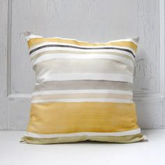 Decorative Throw Pillow 18x18 Gold and Gray by PondViewStudio, $29.00