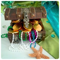 Treasure chest at a Little Mermaid birthday party! See more party ideas at CatchMyParty.com!