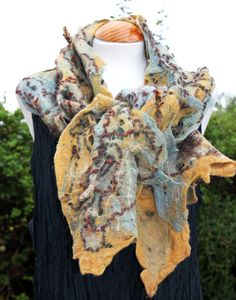 Felted wool scarves wool scarf / shawl  - shibori texture in mustard, gold, duck eegg blue by Angelab5705, £75.00. This duck egg and mustard scarf had a little shibori treatment to give it extra textural spikes all over it's surface. This is a nice autumn weight piece that can be pinned closed as a shawl or worn as a scarf. The added bonus of two sides and perfect for the autumn colour trends