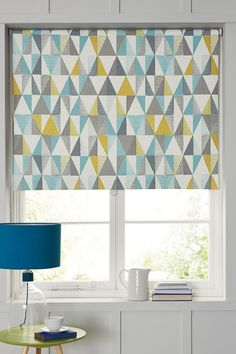 Buy Design Blackout Roller Blind from the Next UK online shop Bay Window Curtains, Curtains With Blinds, Valance Curtains, Vertical Blinds Cover, Kitchen Blinds, Kitchen Windows, Graber Blinds, Budget Blinds, Faux Wood Blinds