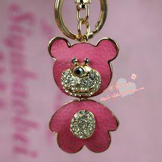 E rhinestone leather bear keychain car keychain b0126 bag buckle