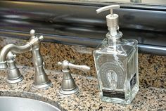 Herradura Glass Soap Dispenser made from upcycled tequila bottle.  Perfect gift for a horse lover since it has a silver horseshoe!  Click picture to learn more or Google @lookingsharpcactus
