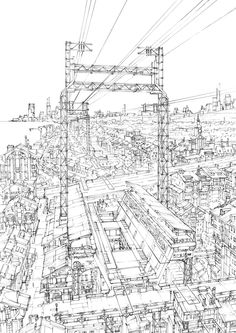 sequences:  Station and Transmission Towers by K. Kanehira
